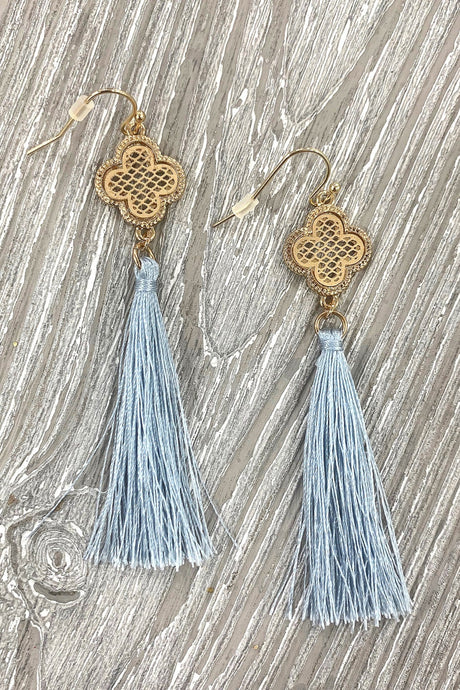 COLLECT YOUR THOUGHTS CLOVER TASSEL EARRINGS-LIGHT BLUE - Infinity Raine