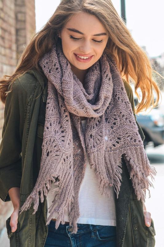 FEATHER KNIT BOHO SCARF-LAVENDER - Infinity Raine