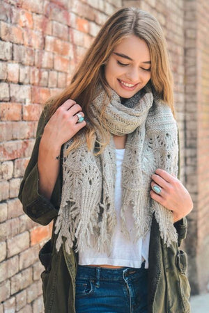 FEATHER KNIT BOHO SCARF-OATMEAL - Infinity Raine