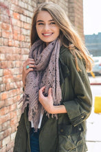 Load image into Gallery viewer, FEATHER KNIT BOHO SCARF-LAVENDER - Infinity Raine