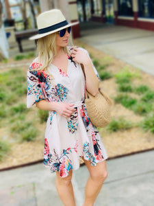 CAPTIVATING IN FLORAL V-NECK WRAP DRESS W/RUFFLE SLEEVES-APRICOT - Infinity Raine