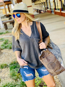 LET'S GO HOME WAFFLE KNIT TOP-CHARCOAL - Infinity Raine