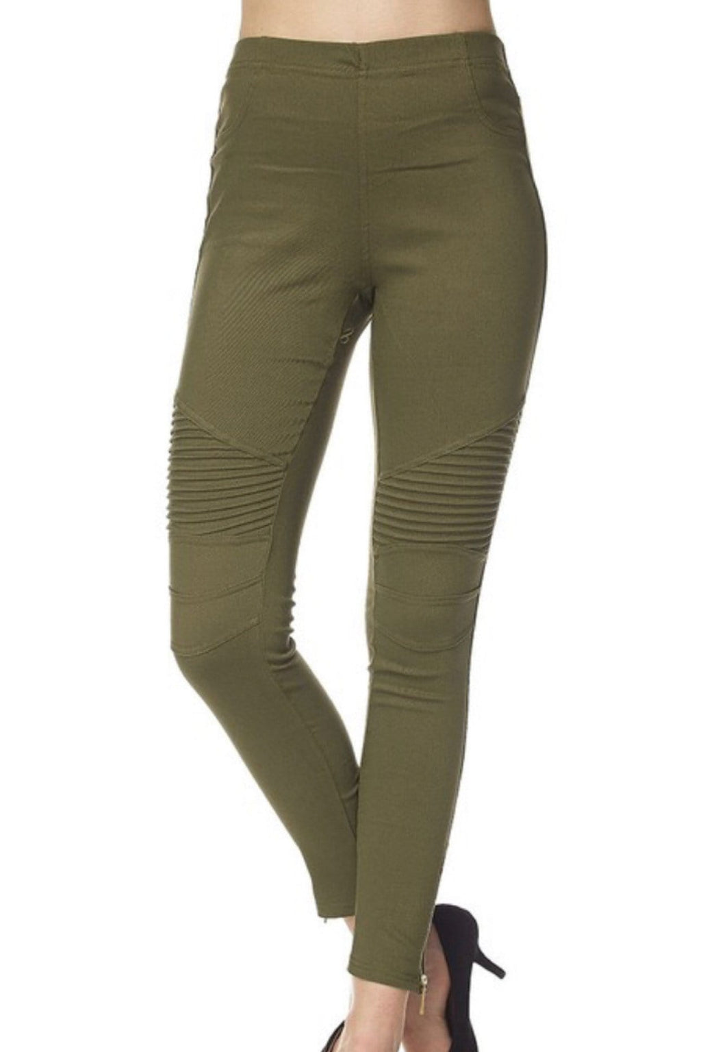 NEED FOR SPEED ZIPPER ANKLE MOTO LEGGINGS-OLIVE - Infinity Raine