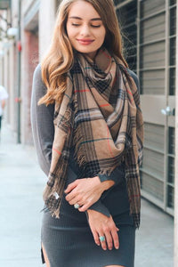 LETS GET OUT SCARF-MOCHA PLAID - Infinity Raine