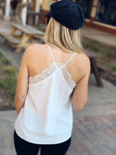 Load image into Gallery viewer, SLIP INTO THIS LACE CAMI SOLID TANK TOP-OFF WHITE - Infinity Raine