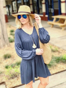 STAY SWEET TIERED TUNIC DRESS-DARK BLUE - Infinity Raine