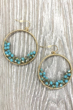 Load image into Gallery viewer, WIRE WRAPPED CRYSTAL BEAD ACCENTED RING HOOK EARRINGS - Infinity Raine
