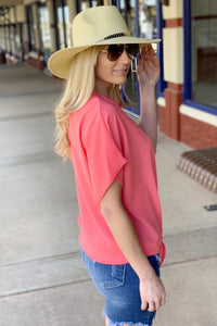 BOHO BABE WOVEN BUTTON DOWN KNOT TOP-CORAL - Infinity Raine