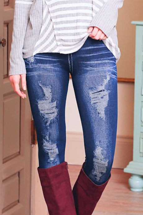 DISTRESSED SKINNY JEAN LOOK LEGGINGS - Infinity Raine