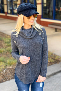 KEEP IT COZY COWL NECK TOP- CHARCOAL - Infinity Raine