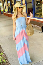 Load image into Gallery viewer, BLISS WITH A KISS STRAPLESS MAXI-BLUE/PINK - Infinity Raine