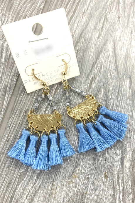 Blue Tassel Half Moon Beaded earrings - Infinity Raine