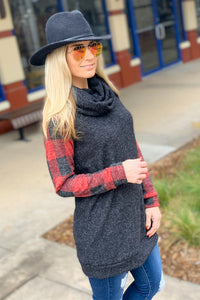 YOU'LL BE OK TURTLENECK TUNIC TOP-CHARCOAL/PLAID - Infinity Raine