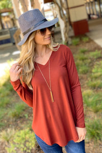 EASY LIKE SUNDAY MORNING TUNIC-FIRED BRICK - Infinity Raine