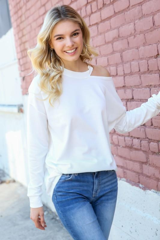 HEART-BREAKER CUTOUT TOP-WHITE - Infinity Raine