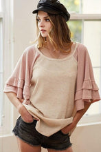 Load image into Gallery viewer, ALL A FLUTTER RUFFLE SHORT SLEEVE WAFFLE KNIT TUNIC - Infinity Raine