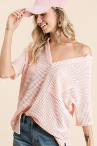 LET'S GO HOME WAFFLE KNIT TOP-BLUSH - Infinity Raine