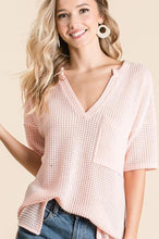 Load image into Gallery viewer, LET'S GO HOME WAFFLE KNIT TOP-BLUSH - Infinity Raine