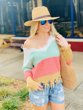 Load image into Gallery viewer, SAY YOU LOVE ME COLOR BLOCK SWEATER-CORAL - Infinity Raine