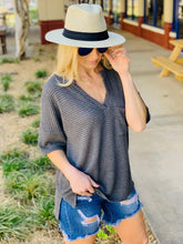 Load image into Gallery viewer, LET'S GO HOME WAFFLE KNIT TOP-CHARCOAL - Infinity Raine