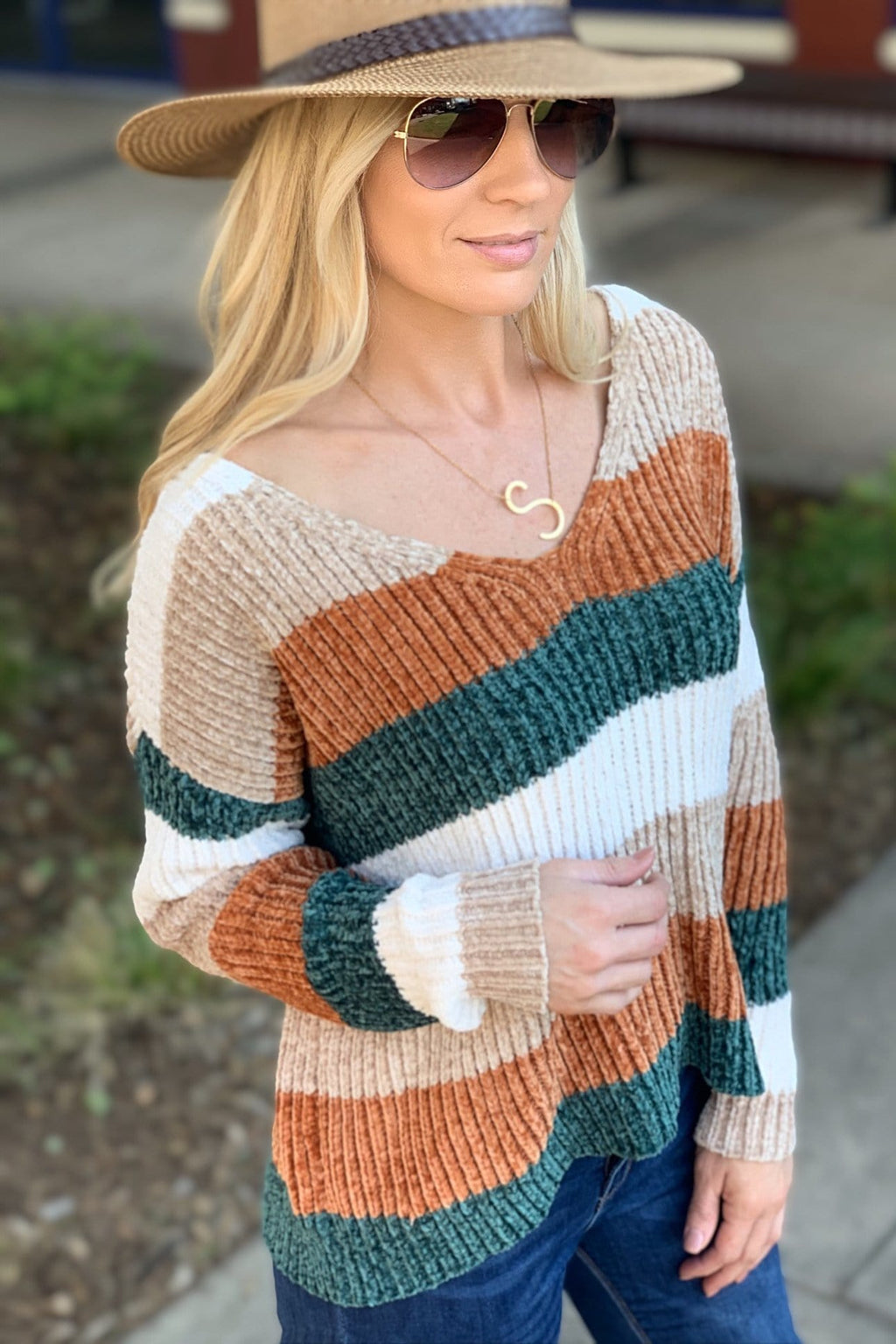 STRIPED SOFT KNIT SWEATER-PLUS SIZE-RUST/TAUPE/OLIVE - Infinity Raine