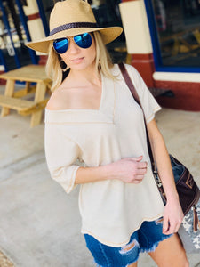 JUST ME WAFFLE KNIT V-NECK TOP-OATMEAL - Infinity Raine