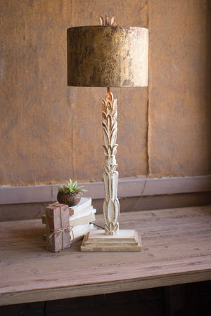 Table Lamp- Carved Wooden Base With Rustic Metal Shade-Off White - Infinity Raine