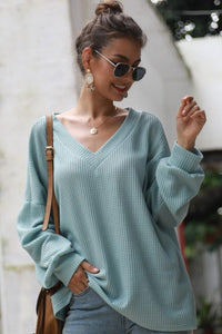 WAFFLE KNIT V-NECK TOP-GREEN - Infinity Raine