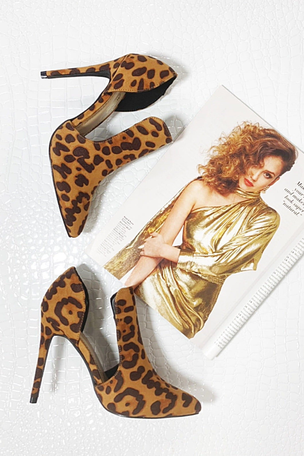 STEP INTO THE NIGHT MICROFIBER HEELS-LEOPARD - Infinity Raine