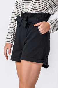 BLACK PAPER BAG SHORTS W/SELF TIE BELT - Infinity Raine