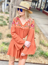Load image into Gallery viewer, FLIRTY FLORAL BELL SLEEVE DRESS-RUST - Infinity Raine
