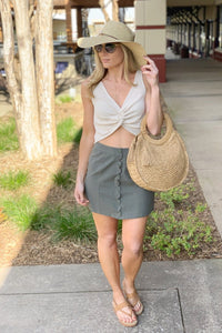 BUTTON SCALLOP SKIRT-OLIVE - Infinity Raine