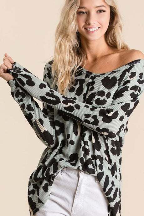 SPRING FLING LEOPARD PRINT DEEP U NECK TOP-MINT