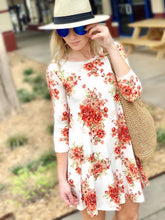 Load image into Gallery viewer, FEELING SO RIGHT SHORT FLORAL SWING DRESS-IVORY - Infinity Raine