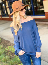 Load image into Gallery viewer, CUTE TO CUDDLE WAFLLE KNIT SWEATER TOP-SLATE BLUE - Infinity Raine