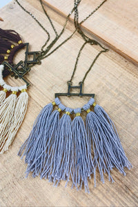 WHAT MAKES YOU HAPPY FRINGE COTTON NECKLACE-BROWN/GREY/CREAM - Infinity Raine