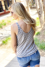 Load image into Gallery viewer, WANT IT ALL-FRONT TIE POLKA DOT SLEEVELESS KNIT TOP-NAVY MULTI - Infinity Raine