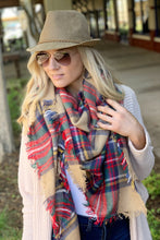 Load image into Gallery viewer, AUTUMN AIR BLANKET SCARF-KHAKI MULTI - Infinity Raine