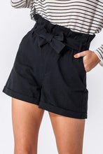 Load image into Gallery viewer, BLACK PAPER BAG SHORTS W/SELF TIE BELT - Infinity Raine