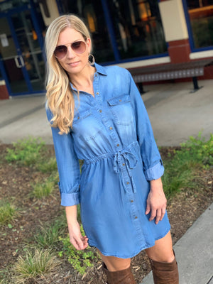 SWEET INTENTIONS MEDIUM WASH CHAMBRAY DRESS-BLUE - Infinity Raine