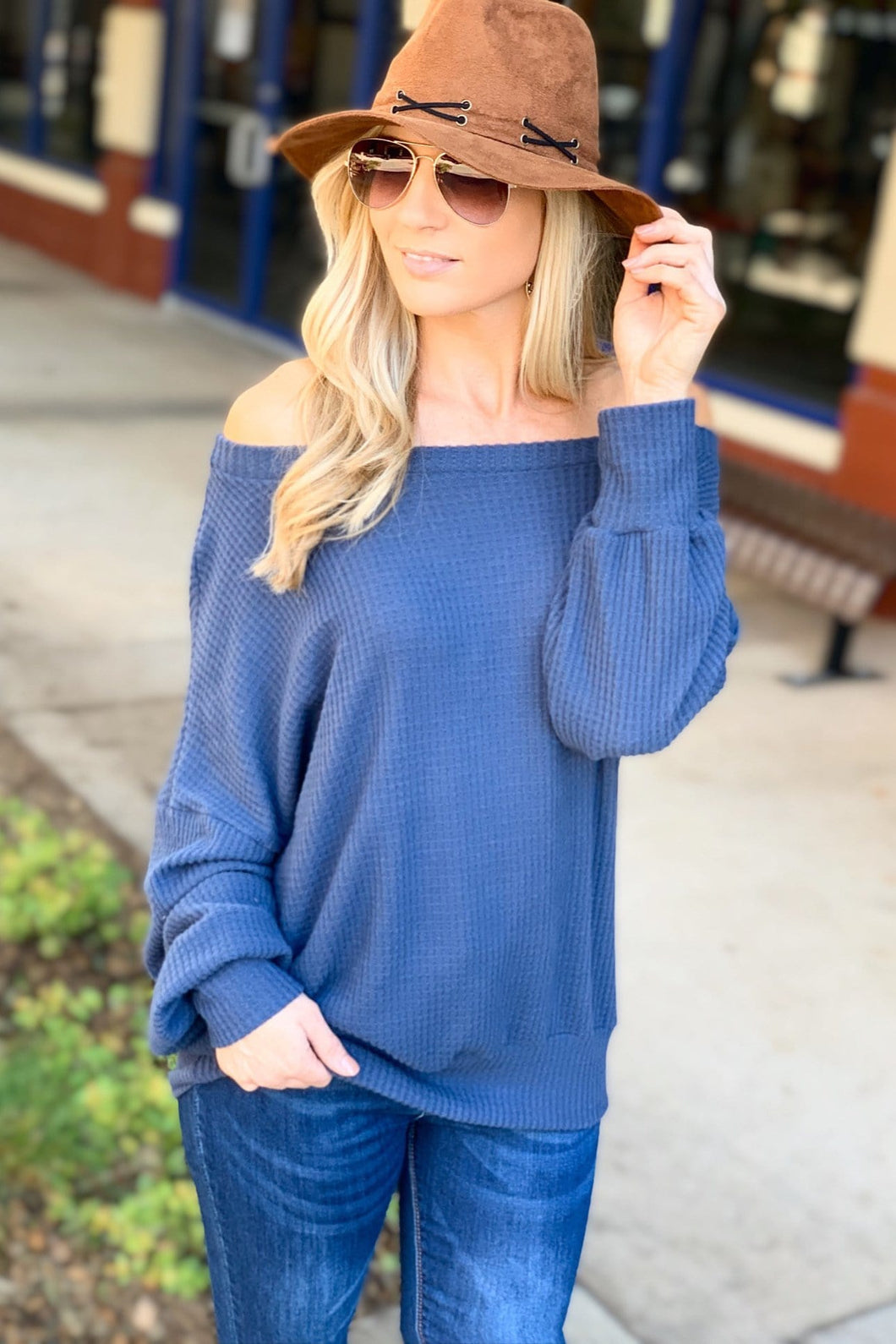 CUTE TO CUDDLE WAFLLE KNIT SWEATER TOP-SLATE BLUE - Infinity Raine