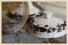 Load image into Gallery viewer, DISTRESSED WHITE LID GLASS JAR W/STAND - Infinity Raine