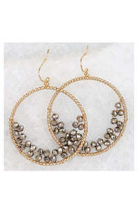 WIRE WRAPPED CRYSTAL BEAD ACCENTED RING HOOK EARRINGS - Infinity Raine