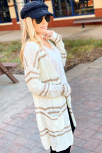 Load image into Gallery viewer, ABSOLUTE PERFECTION IVORY/TAUPE STRIPED CARDIGAN - Infinity Raine