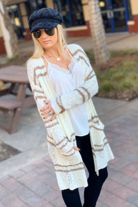 ABSOLUTE PERFECTION IVORY/TAUPE STRIPED CARDIGAN - Infinity Raine