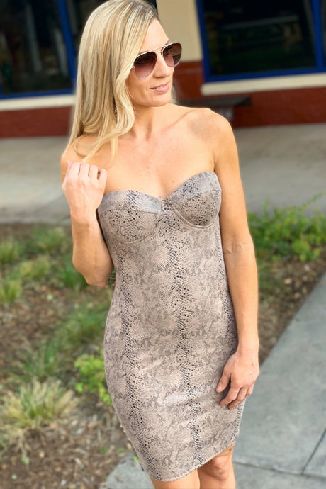 SAME YOU STRAPLESS MINI DRESS-TAUPE - Infinity Raine