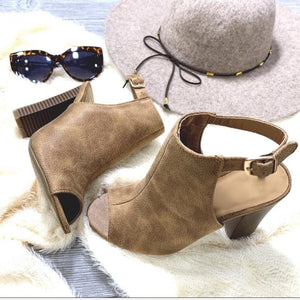 HEIGHT OF HAPPINESS SLING BACK BOOTIE-TAUPE - Infinity Raine
