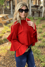 Load image into Gallery viewer, GIVE ME JOY BELL SLEEVE SWEATER-RED - Infinity Raine