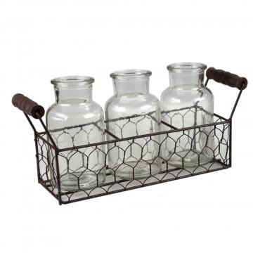 THREE PIECE MEDIUM GLASS BOTTLE SET W/METAL BASKET - Infinity Raine