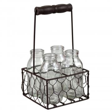 FOUR PIECE SMALL GLASS BOTTLE SET W/METAL BASKET - Infinity Raine